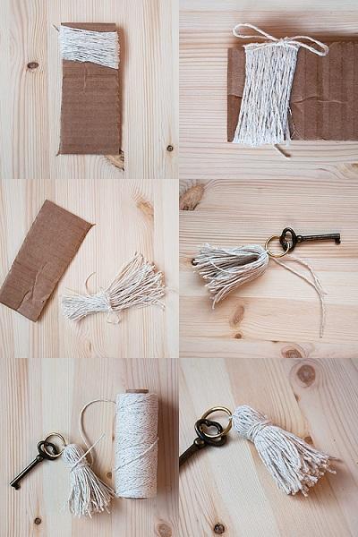 Como hacer un llavero original hilo de lana o cuero todo - Como hacer borlas de hilo ...