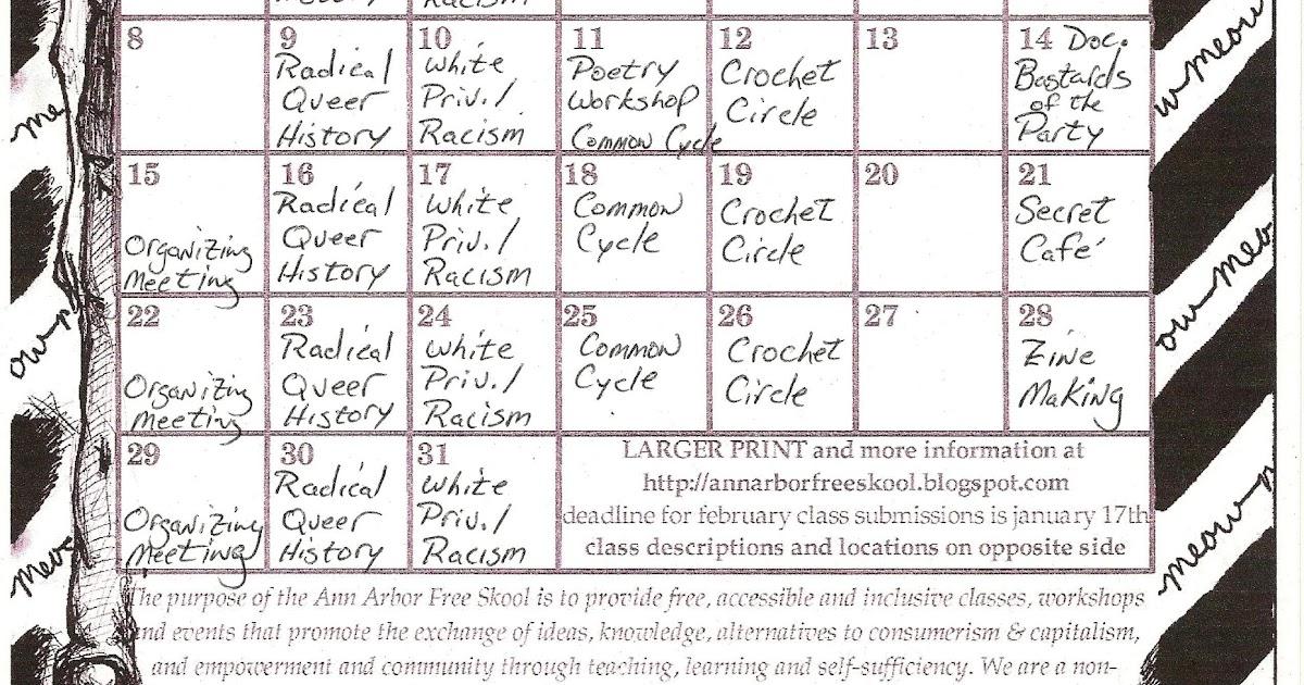 Ann Arbor Free Skool: January Calendar is out!