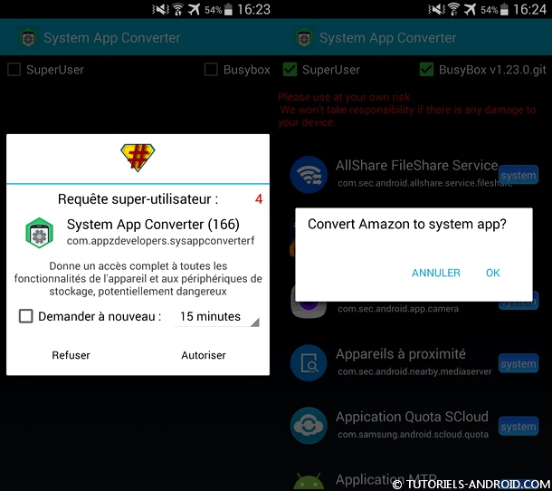 Convertir Application Android vers Application système
