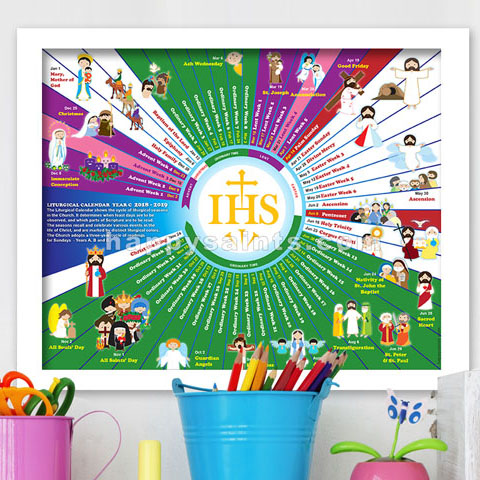 the happy saints liturgical calendar 2019 year c is now available illustrated with happy saints artworks this calendar will encourage kids and the