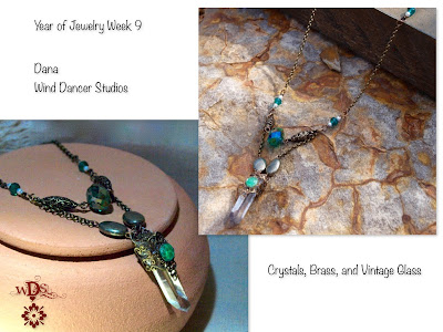 Wind Dancer Studios; Crystal Point Necklace; Green and Antique Gold