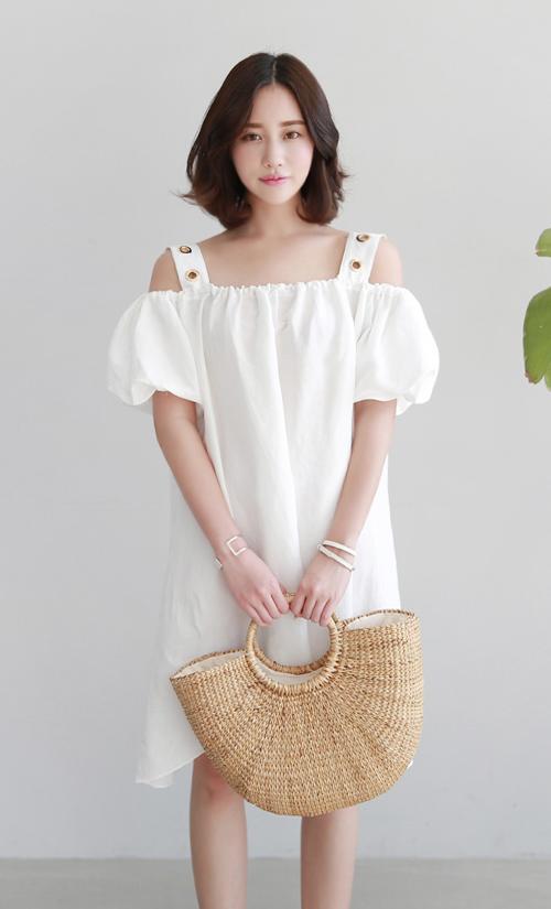 Grommet Detail Cold Shoulder Dress
