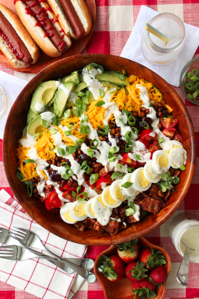 A BBQ Ranch Cobb Salad is a twist on the traditional cobb salad, topped with crisp bbq roasted chickpeas and cool, creamy Litehouse Homestyle Ranch Dressing. | The Two Bite Club | AD #SeeTheLite