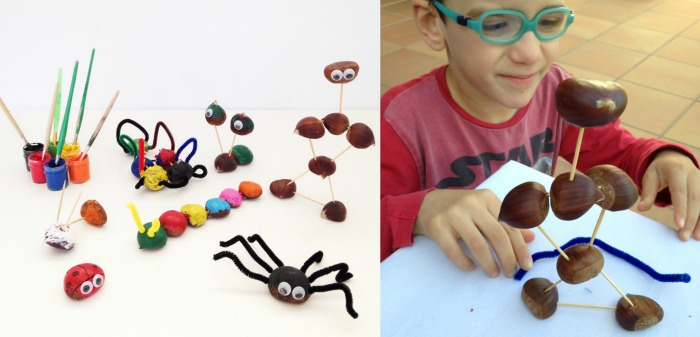 actividades, manualidades niños motricidad fina otoño, figuras con castañas y palillos