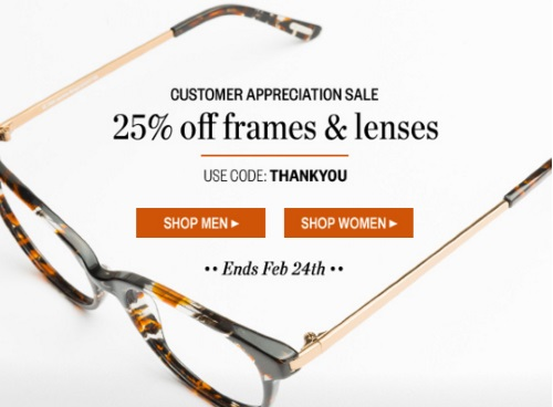 Clearly 25% Off Frames & Lenses Customer Appreciation Sale Promo Code