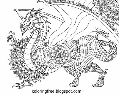 Complex sketching ideas fantasy drawing inspirations dragon coloring book picture for adult to color