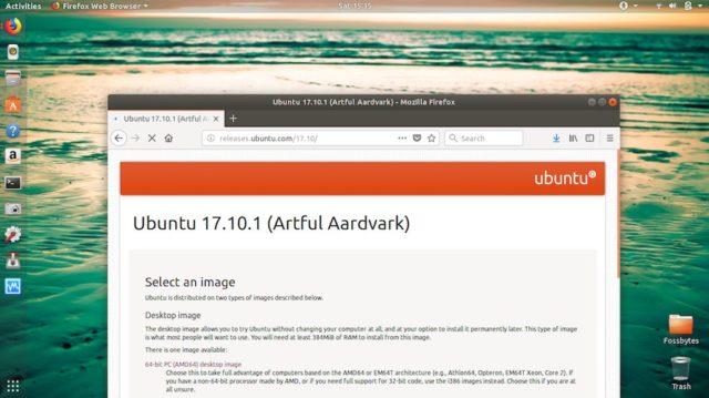 تحديث جديد على نظام أوبنتو Ubuntu 17.10.1 Artful Aardvark