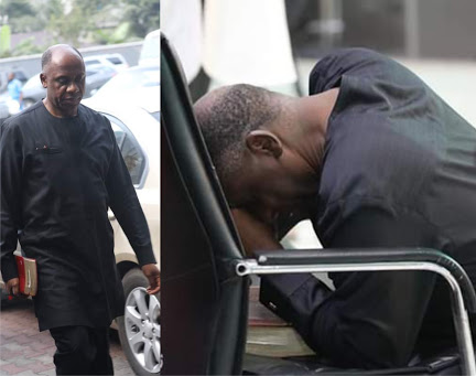 Amaechi Spotted Praying Seriously At Redeemed Church