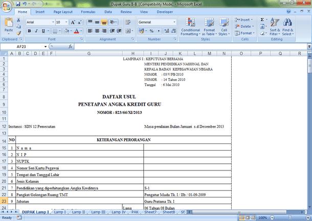 Contoh Aplikasi DUPAK Guru Format Microsoft Excel