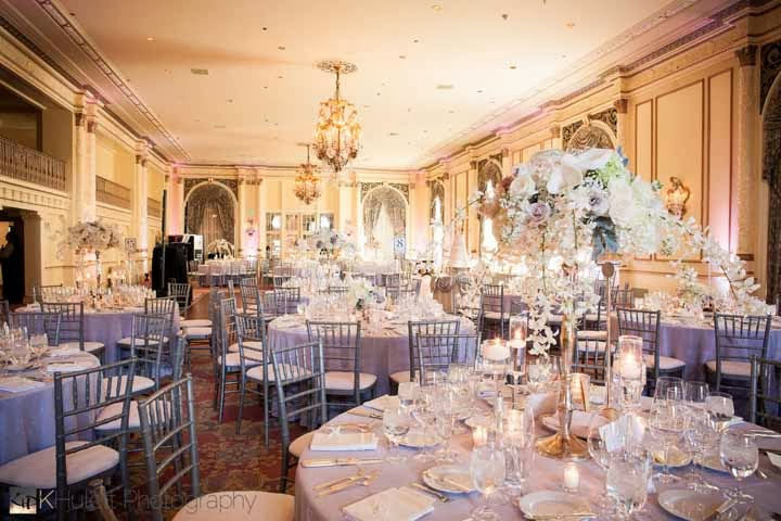 lavender and white wedding, luxury wedding reception Fairmont hotel