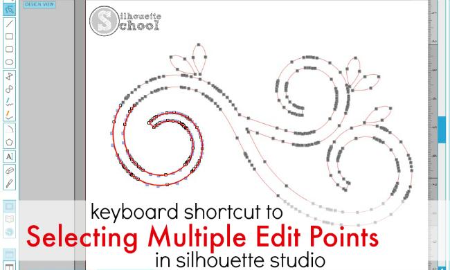 multiple edit points, Stilhouette tutorial, Silhouette Studio keyboard shortcut