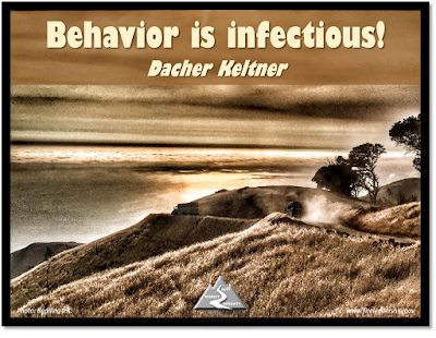 Behavior is infectious! Dacher Keltner [Hotshot crew buggies on a side road]