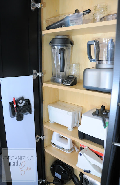 Utility Organizer Cabinet used for storing small appliances :: OrganizingMadeFun.com