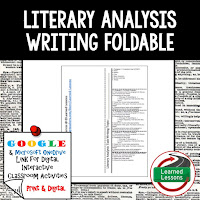 Literary Analysis Foldable, Literary Analysis Google Classroom, Digital Learning, 1:1