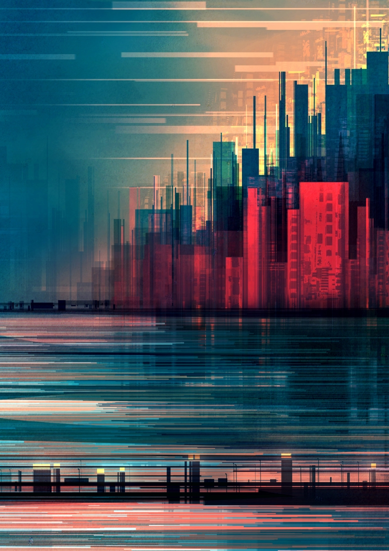 02-Red-Wall-Scott-Uminga-Architecture-with-Linear-Cityscape-Paintings-www-designstack-co