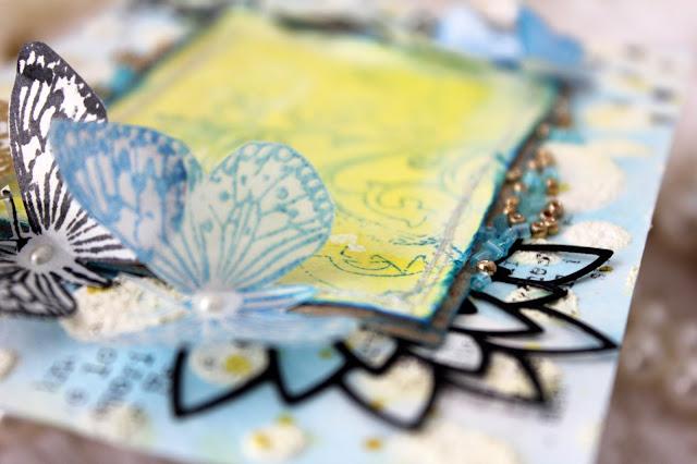 альбом, самодельный фон, бабочки