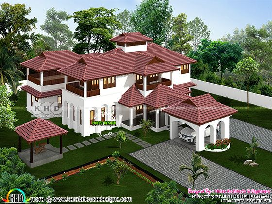 5 bedroom luxury Kerala traditional house rendering