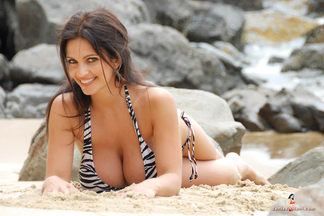Denise Milani Beach Zebra HD Sexy Photoshoot Hot Photo 12