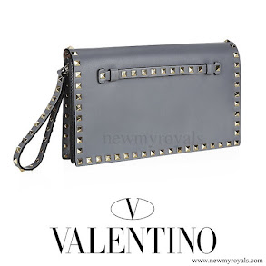 Queen Maxima style VALENTINO Grey Rockstud Clutch Bag