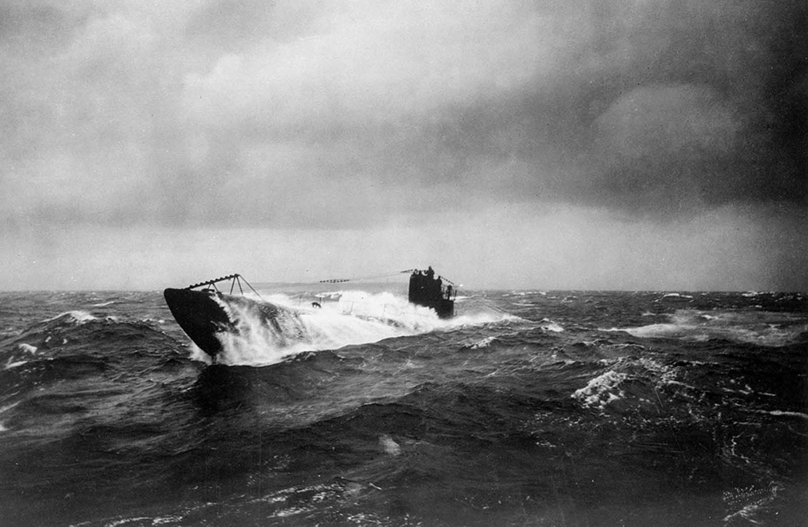 The former German submarine UB 148 at sea, after having been surrendered to the Allies. UB-148, a small coastal submarine, was laid down during the winter of 1917 and 1918 at Bremen, Germany, but never commissioned in the Imperial German Navy. She was completing preparations for commissioning when the armistice of November 11 ended hostilities. On November 26, UB-148 was surrendered to the British at Harwich, England. Later, when the United States Navy expressed an interest in acquiring several former U-boats to use in conjunction with a Victory Bond drive, UB-148 was one of the six boats allocated for that purpose.