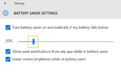 sistem pengaturan baterai pada Windows 10