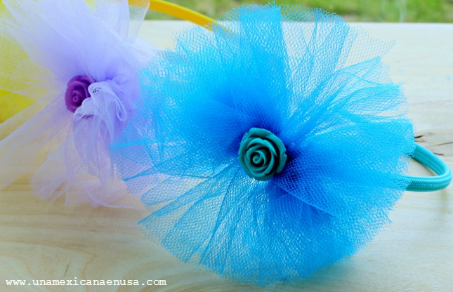 Diademas para niñas decoradas con tela de tul