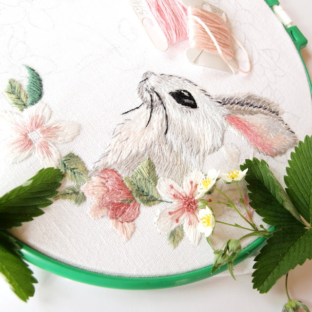 hand embroidery rabbits and flowers ручная вышивка кролики и цветы