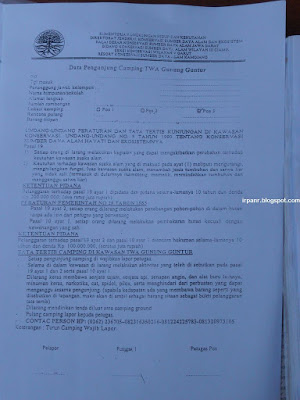 Formulir pendaftaran pendakian Guntur
