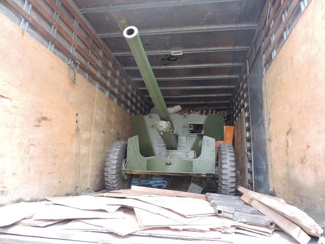 Canhão obuseiro 55 milímetros é encontrado por guardas municipais de Jundiaí em caminhão Baú na Vila Arens