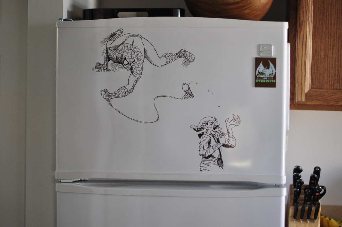 17-Spider-Man-and-the-Green-Goblin-Charlie-Layton-Freezer-Door-Drawings-and-Illustrations-www-designstack-co