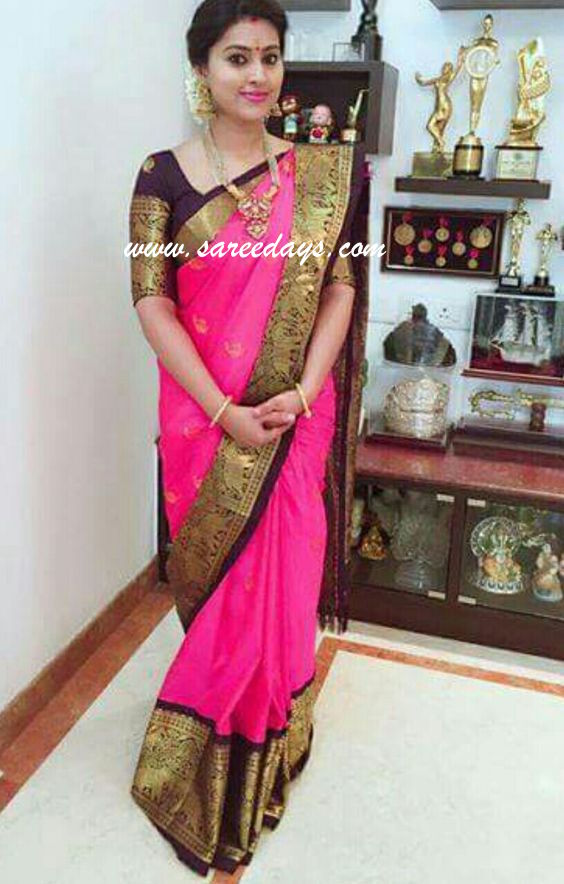 Latest saree designs sneha in pink silk saree checkout sneha in pink silk saree with zari border and paired with matching half sleeves designer blouse altavistaventures Image collections
