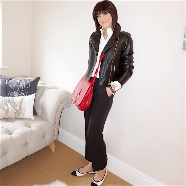 My Midlife Fashion, Village england sway cross body bag, baukjen everyday biker jacket, somerset by alice temperly pleated blouse, whistles cropped kick flare trousers, j crew gemma cap toe flats