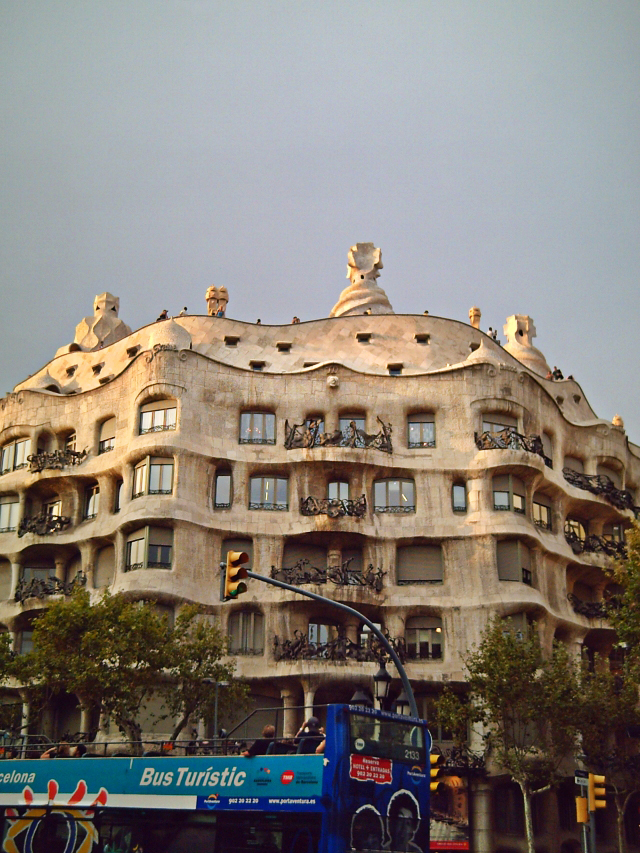 Front View of Casa Mila or La Pedrera by Gaudi