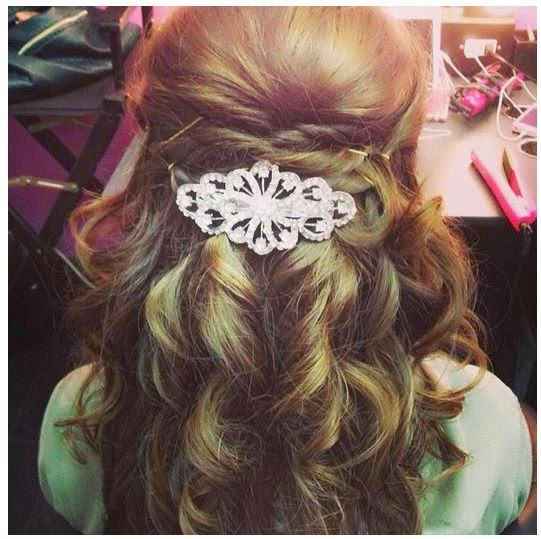 Half Up Hairstyle up Another Notch With a Gorgeous Crystal Barrette