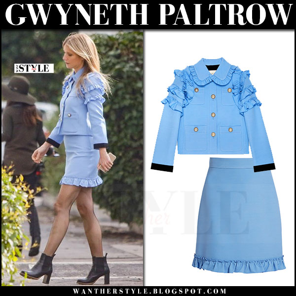 Gwyneth Paltrow in light blue ruffled sleeve jacket and ruffled hem mini skirt gucci what she wore 2017