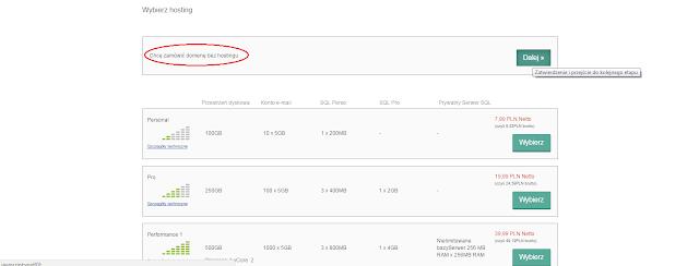 Opcja wyboru różnych pakietów domena + hosting