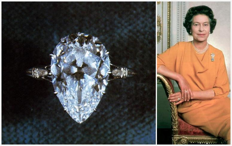 The Cullinan Ix Ring And Queen Elizabeth Wearing It Along With Granny S Chips Her Engagement