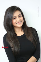 Telugu Actress Mishti Chakraborty Latest Pos in Black Top at Smile Pictures Production No 1 Movie Opening  0056.JPG