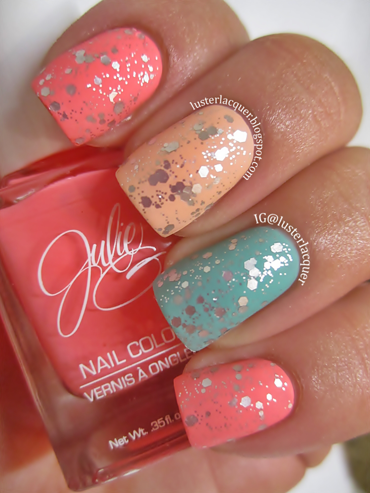 Luster Lacquer Abstract Nail Art: Luster Lacquer: Matte Glitter