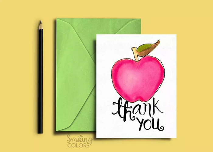 Apple Thank You Cards