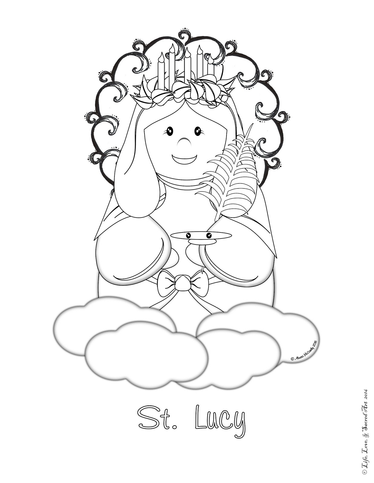 Life Love Sacred Art Free Cute St Lucy Coloring Page