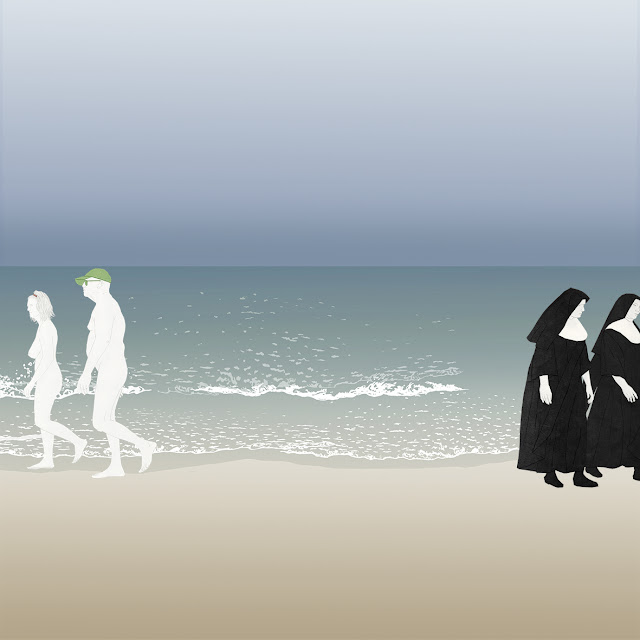 playa , nudistas , monjas, dibujo