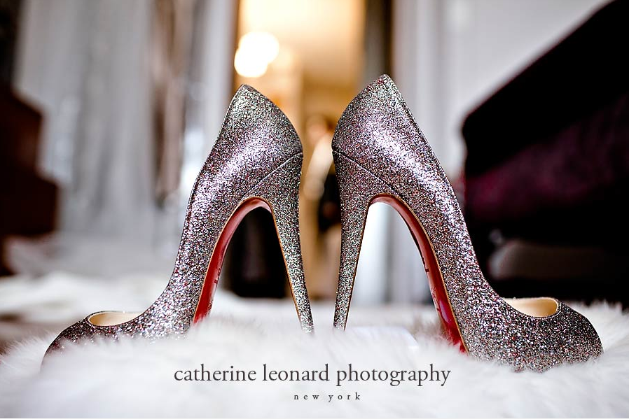 d8118edec24 These Christian Louboutin wedding shoes are so glamorous!! Thanks to New  York wedding photographer Catherine Leonard for such a stunning shot.