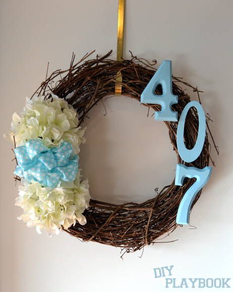 Grapevine Wreath with Address Bow Hydrangeas
