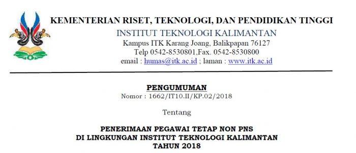 Lowongan Kerja Non PNS Institut Teknologi Kalimantan Besar-besaran