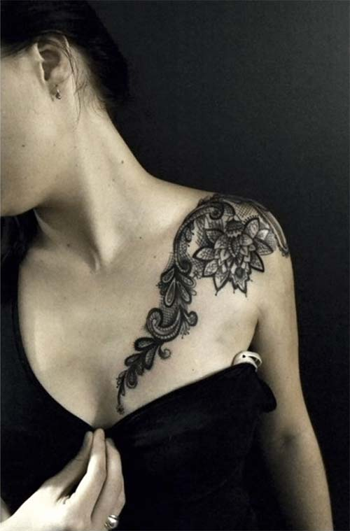 shoulder lace tattoo for ladies