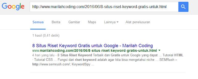 artikel yang sudah terindex di google