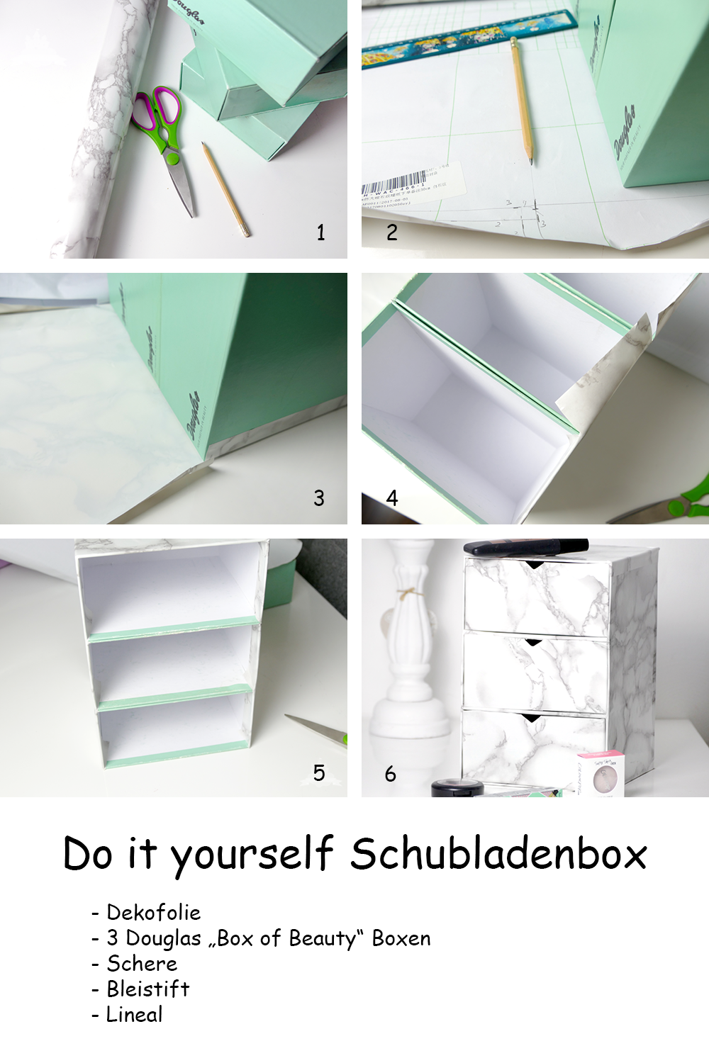 Upcycling do it yourself Schubladenbox Marmor
