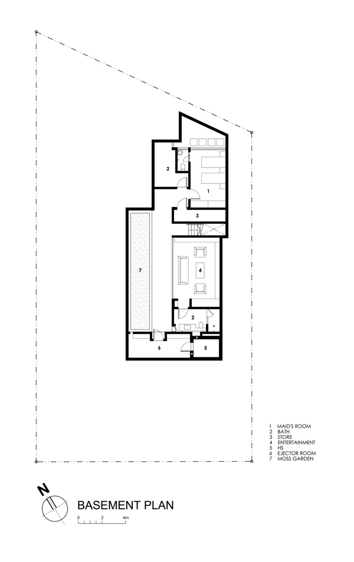 Basement floor plan of Travertine Dream House by Wallflower Architecture + Design