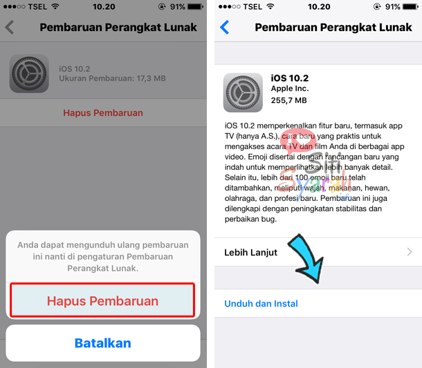 cara membatalkan pembaruan ios di iphone 7s